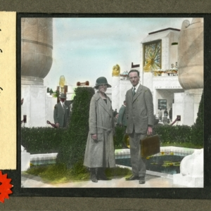 Hand-colored Lantern Slide of Mr. and Mrs. Theron Cain
